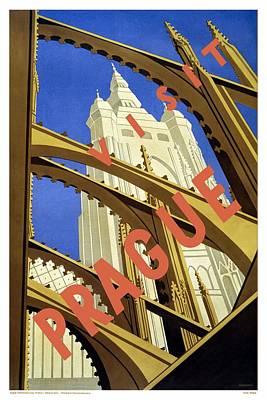 Mixed Media - Visit Prague, Czech Republic - Church Steeple Through Flying Buttresses - Retro Travel Poster by Studio Grafiikka
