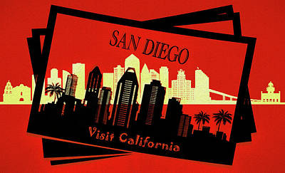 Mixed Media - Visit San Diego California Postcard by Dan Sproul