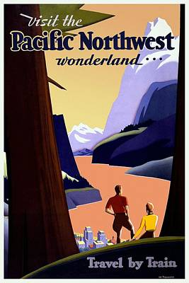 Train Mixed Media - Visit The Pacific Northwest Wonderland - Travel By Train - Retro Travel Poster - Vintage Poster by Studio Grafiikka