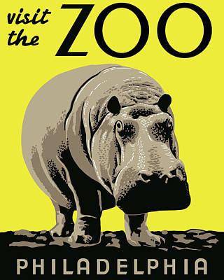 Hippopotamus Digital Art - Visit The Zoo by Finlay McNevin