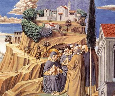 Painting - Visit To The Monks Of Mount Pisano 1465 by Gozzoli Benozzo