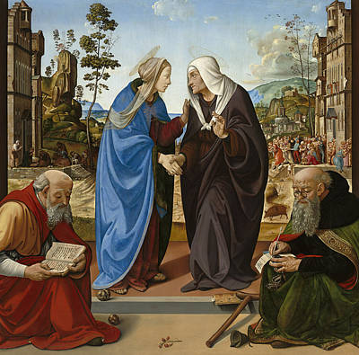 St Elizabeth Painting - Visitation With Saint Nicholas And Saint Anthony by Piero di Cosimo