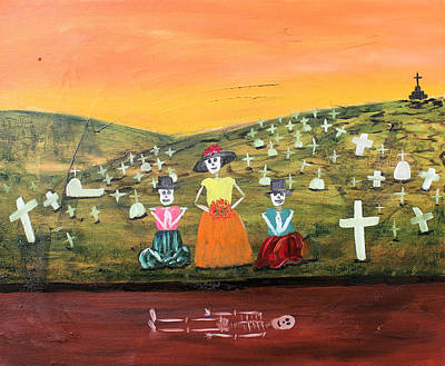 Visiting Our Loved Ones Print by Sonia Flores Ruiz