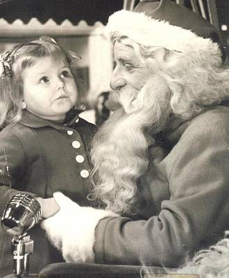 Art Print featuring the photograph Visiting Santa For The First Time by Judyann Matthews