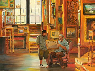Furniture Store Painting - Visiting The Picture Man by Emily Olson