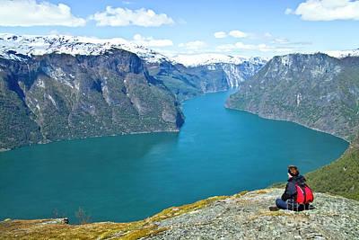 Visitor At Aurlandsfjord Art Print by Heiko Koehrer-Wagner