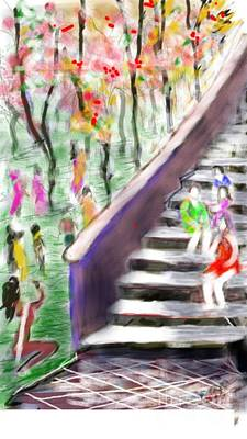 Digital Art - Visitors At The Garden by Subrata Bose
