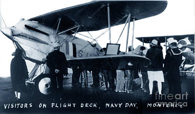 Photograph - Visitors Inspect A Curtiss F6c Fighter On The Ship's Flight Deck by California Views Mr Pat Hathaway Archives