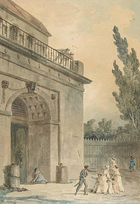 Drawing - Visitors Leaving A Prison by Hubert Robert