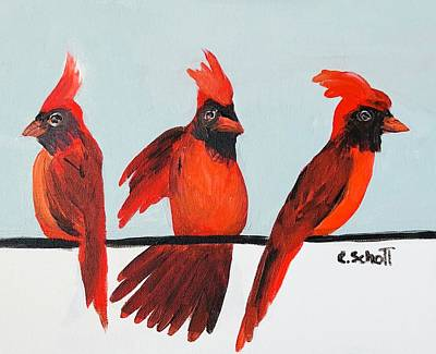 Painting - Visits From A Dancing Cardinal by Christina Schott