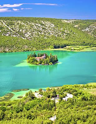 Visovac Lake Island Monastery Aerial View Art Print
