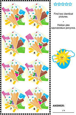 Children Ice Cream Digital Art - Visual Puzzle - Find Identical Images Of Ice Cream Bars And Cones by Natalia Ratselmeister