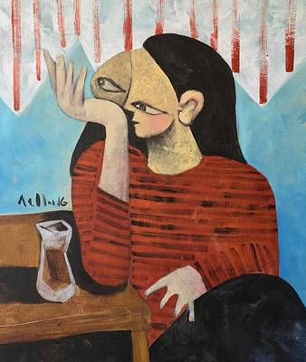 Brut Mixed Media - Vitae Woman Drinking Tea by Mark M Mellon
