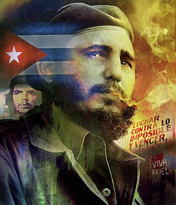 Che Digital Art - Viva Fidel by Mal Bray