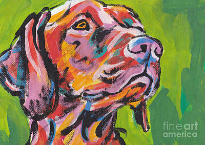 Dog Portraits Painting - Viva La Vizsla by Lea S