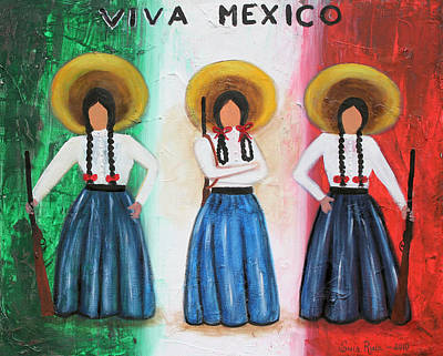 Oaxacan Painting - Viva Mexico by Sonia Flores Ruiz