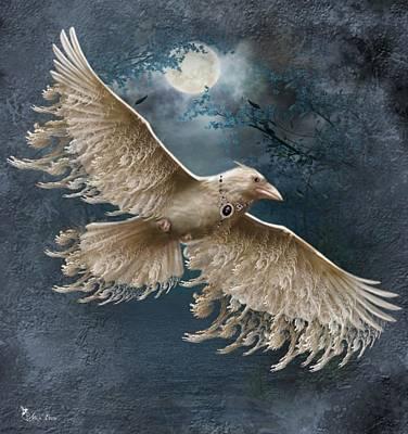 Digital Art - Viva The White Raven  by Ali Oppy