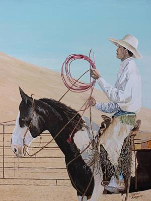 Vaquero Painting - Young Buckaroo by Charles Rogers