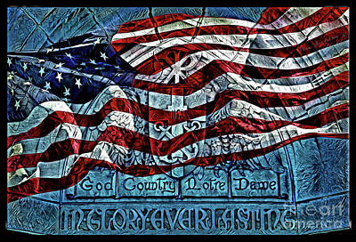 Photograph - Vivid American Flag God Country Notre Dame Go Irish by John Stephens