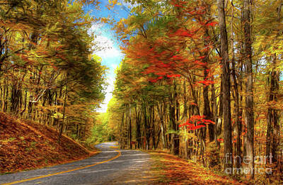 Painting - Vivid Autumn In The Blue Ridge Mountains Ap by Dan Carmichael