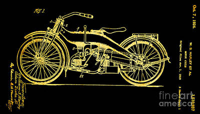 Photograph - Black And Gold Texture Harley Motorcycle Patent 1924 by John Stephens