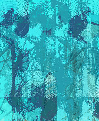 Vivid Blue Seafoam Nyc Water Towers  Art Print