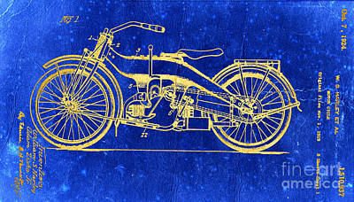 Photograph - Vivid Harley Motorcycle Patent 1924 by John Stephens