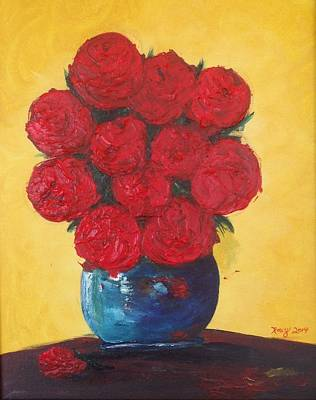 Red Painting - Vivid Red Roses by Roxy Rich