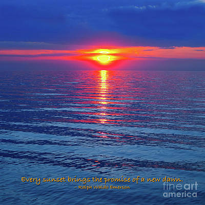 Photograph - Vivid Sunset - Emerson Quote - Square Format by Ginny Gaura