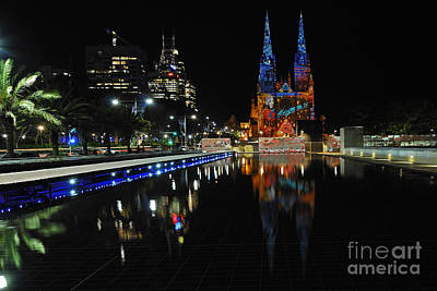 Photograph - Vivid Sydney 2010 St. Marys Cathedral Australia by David Iori