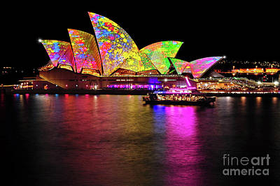 Yellow On Blue Photograph - Vivid Sydney 2014 - Opera House 4 By Kaye Menner by Kaye Menner