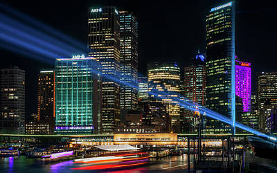 Photograph - Vivid Sydney At Circular Quay by Daniela Constantinescu