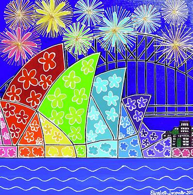 Painting - Vivid Sydney Fireworks by Elizabeth Langreiter