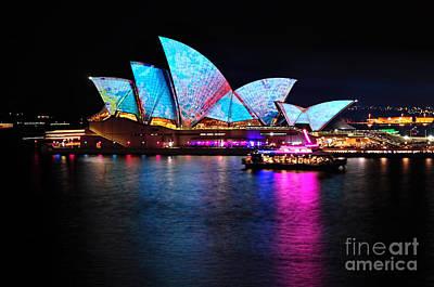 Photograph - Vivid Sydney - Opera House Aqua Blue By Kaye Menner by Kaye Menner