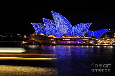 Photograph - Vivid Sydney - Opera House Blue Geometry By Kaye Menner by Kaye Menner