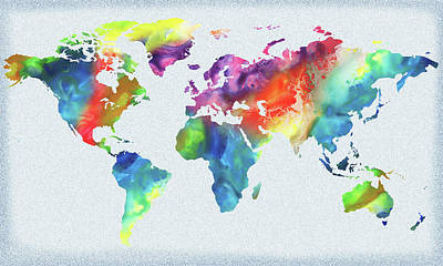 Painting - Vivid Watercolor Map Of The World by Irina Sztukowski
