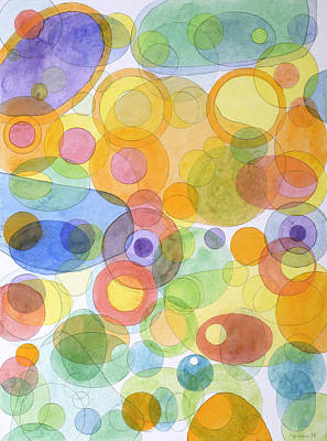 Oval Office Painting - Vividly Interacting Circles  by Heidi Capitaine
