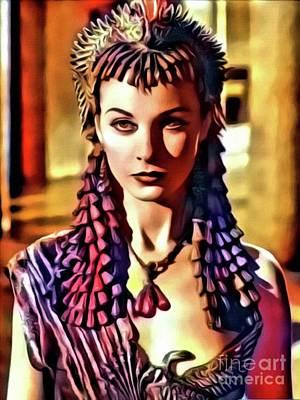 Singer Digital Art - Vivien Leigh, Vintage Actress. Digital Art By Mary Bassett by Mary Bassett