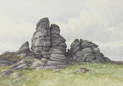 Rocky Drawing - Vixen Tor, Near Merivale Bridge, Dartmoor by Frederick John Widgery