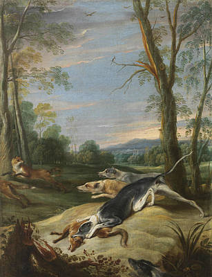 Painting - Vixens Chased By Dogs by Frans Snyders