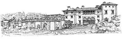 Ink Drawing Drawing - Vizcaya Museum In Miami by Adendorff Design
