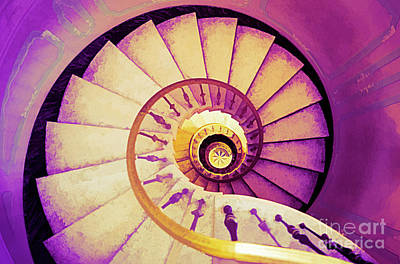 Digital Art - Vizcaya Stairs Purple by Ed Taylor