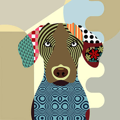 Purebred Digital Art - Vizsla Dog by Lanre Studio