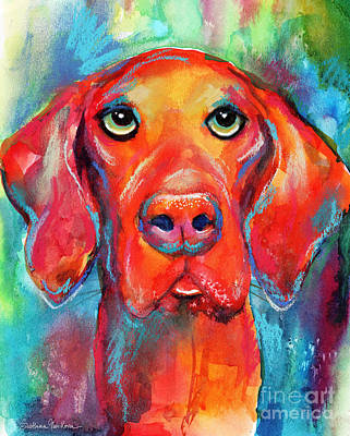 Vizsla Dog Portrait Art Print
