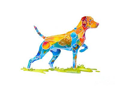 Colorful Dog Painting - Vizsla On Point by Jo Lynch
