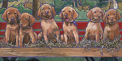 Painting - Vizsla Pups by Nadi Spencer