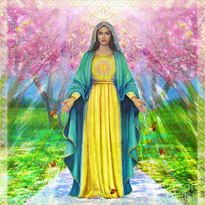 Mother Mary Digital Art - Bloom And Thrive With Mother Mary by Saleena Ki