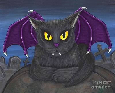 Art Print featuring the painting Vlad Vampire Cat by Carrie Hawks
