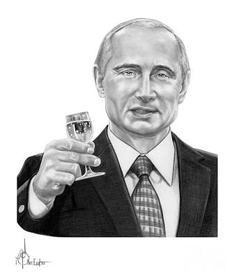 World Leader Drawing - Vladimir Putin by Murphy Elliott