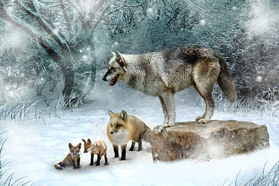 Mammals Digital Art - Vladimir Vanessa And The Vixens  by Julie L Hoddinott